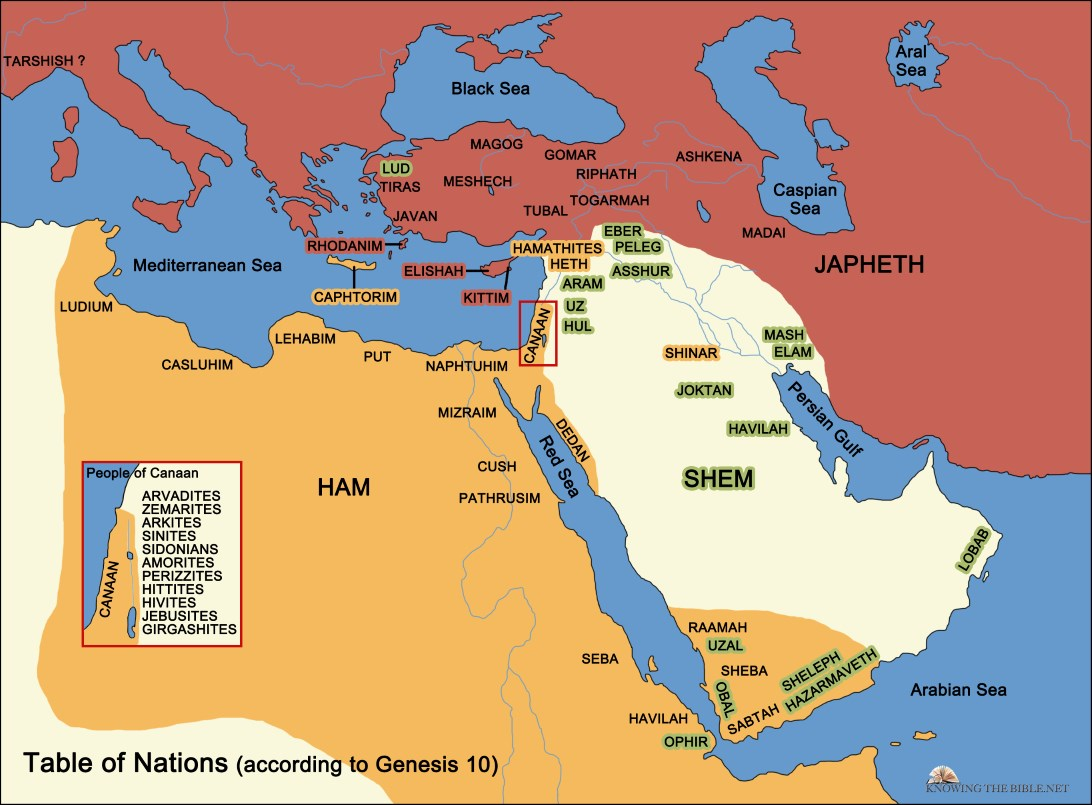 map of the Middle East and surrounding areas sometime after the flood of Noah's time